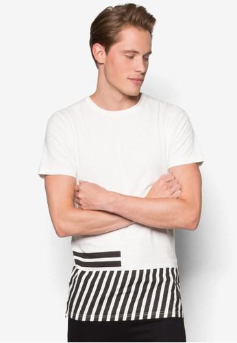 Toby 條紋拼esprit outlet 台中接短袖TEE, 服飾, 服飾