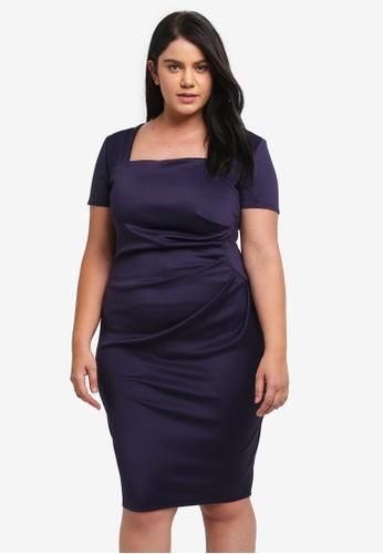 Goddiva navy Plus Size Square Neckline Pleated Midi Dress GO975AA0SSBFMY_1