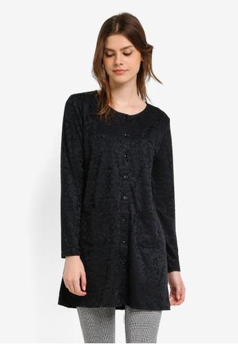 Zariya black Long Sleeves Cardigan CA021AAB0039D9GS_1