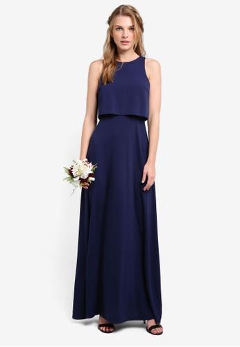 ZALORA navy Bridesmaid Double Layer Maxi Dress 28650AAB691C54GS_1