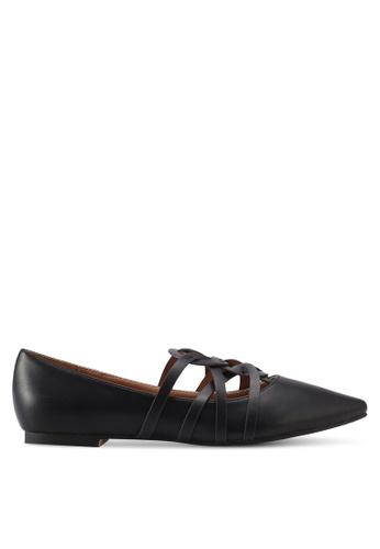 ZALORA black Faux Leather Ballerinas D0E8CSH3F1E385GS_1