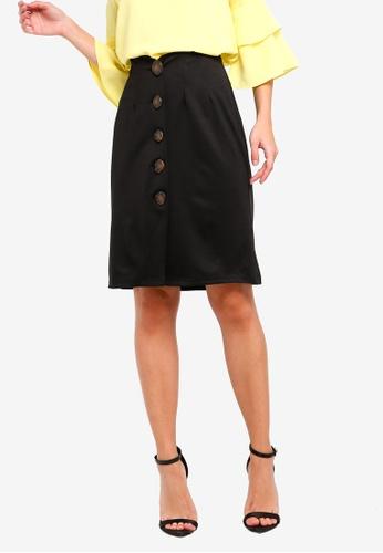 ZALORA black High Waist Open Slit Skirt 6A6B2AA4C384EBGS_1