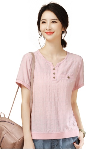 A-IN GIRLS pink All-Match Round Neck Check T-Shirt A29E6AAFB99310GS_1