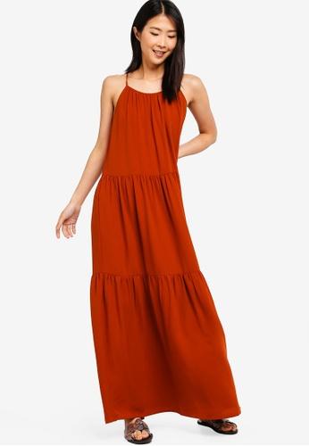 ZALORA BASICS orange Basic A-Line Pleated Maxi Dress F0C26AA8D61905GS_1