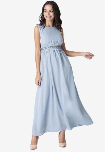 FabAlley blue Embellished Maxi Dress 5977DAA355DBB3GS_1
