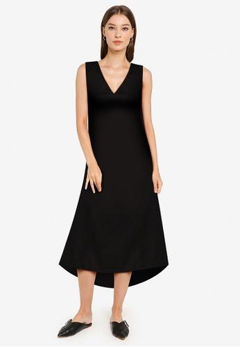 ZALORA WORK black V Neck High Low Hem Dress C2F6EAA26BE9CCGS_1