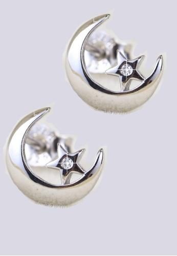 LYCKA silver LFF5229-LYCKA-S925 Siliver White Zircon Pentagram Earrings-Silver E8A47AC5E09A9DGS_1