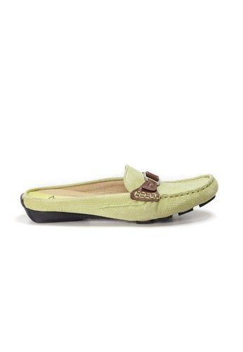 Shu Talk green AMAZTEP Bi-colored Buckle Slip On Mule Loafers(for Narrow Feet) 9CE87SH5CEF3A3GS_1