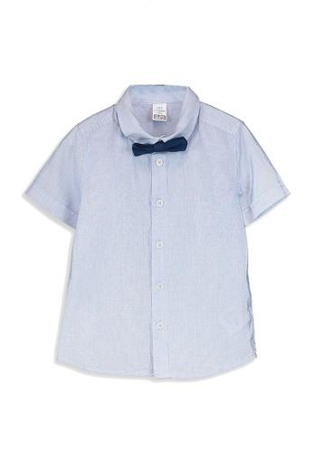 LC Waikiki blue Baby Boy's Striped Shirt and Bowtie 31AF4KA421E004GS_1
