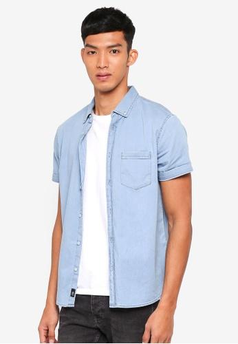 d2acc36228a Burton Menswear London blue Short Sleeve Light Wash Denim Shirt  0510FAAD2906A2GS 1