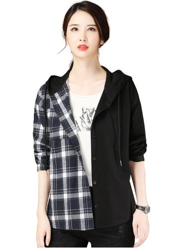 A-IN GIRLS black and navy Fashion Check Panel Hooded Jacket A5D85AA627088FGS_1