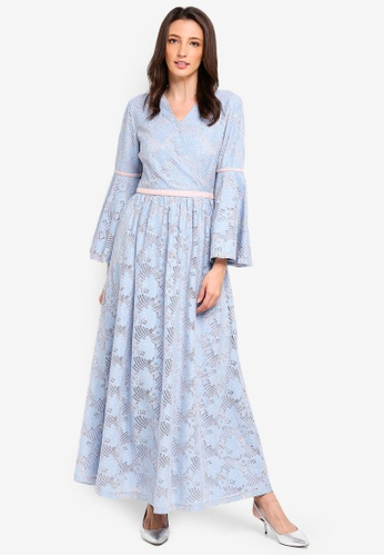 Zalia blue Lace Dress with Velvet Trim 2BB04AA472C61FGS_1