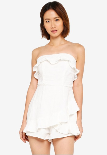 INDIKAH white Bustier Playsuit With Back Tie 5E476AAFB79A31GS_1