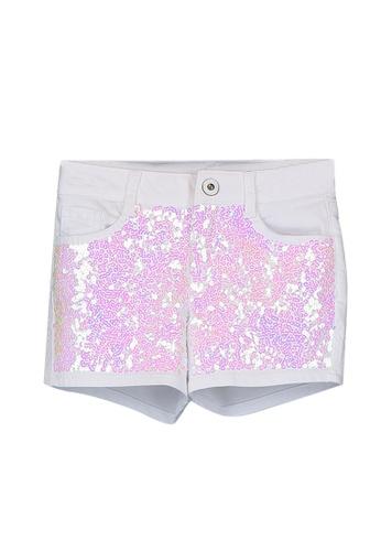 LC Waikiki white Girl's Sequin Embroidered Shorts 3AA60KADE7066CGS_1