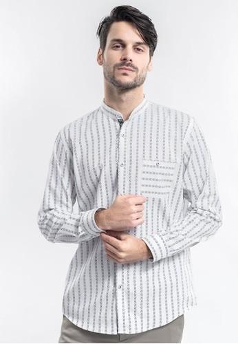 MANLY white MANLY Skinner White Regular Fit Striped Shirt 56235AADDDB21AGS_1