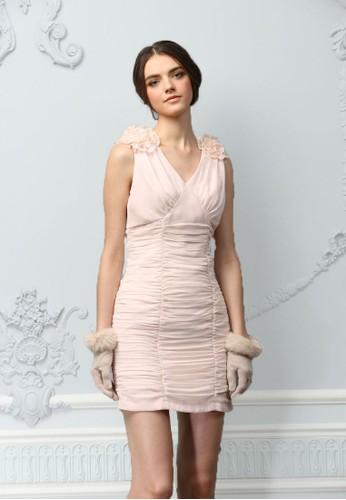 紐約都會女孩V領背esprit part time心式雪紡小禮服, 服飾, 派對洋裝