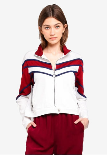Something Borrowed white Color Block Sports Jacket 148E3AA27D7083GS_1