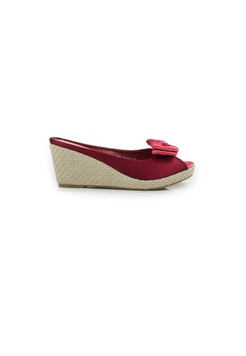 SHINE red Slip On Ribbon Wedges SH554SH45LFQSG_1