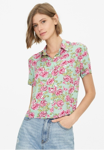 Pomelo blue Floral Buttoned Down Shirt - Mint 04F28AACE19B5FGS_1