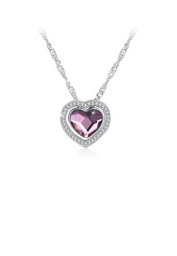 Glamorousky white 925 Sterling Silver Romantic Brilliant Heart Pendant with Purple Austrian Element Crystal and Necklace D07C1ACF455E21GS_1