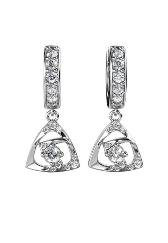 Her Jewellery silver Tri Glyn Hoop Earrings (White Gold) - Made with Premium grade crystals from Austria 693FCAC3A311B5GS_1