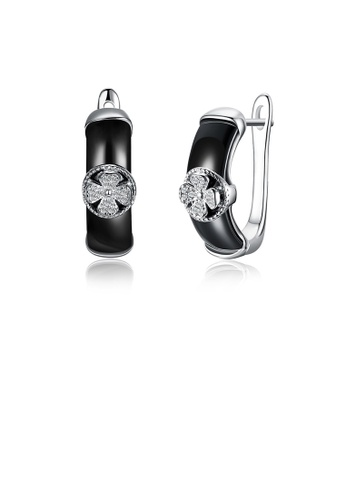 Glamorousky white 925 Sterling Silver Fashion Elegant Fou-leafed Clover Black Ceramic Stud Earrings with Cubic Zircon E3C07AC43A7FE5GS_1