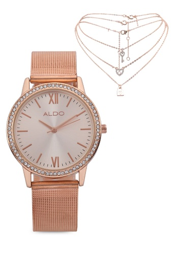 ALDO pink Astedrican Watch And Necklace Set 74D99AC15FBD18GS_1