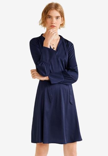 Mango blue Satin Tie Dress 31679AAFC9EFADGS_1