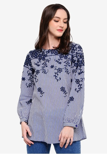 TOPGIRL blue Embroidered Stripe Long Sleeve Blouse 20060AA636F436GS_1