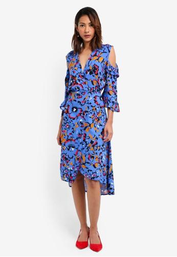 CLOSET 藍色 挖肩褶飾印花洋裝 13319AA2C7A49EGS_1