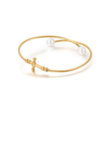 Glamorousky white Fashion Classic Plated Gold Cross 316L Stainless Steel Bangle with Imitation Pearls 805FAAC65C0B0BGS_1