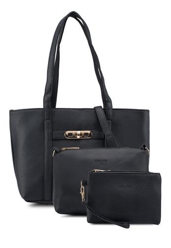 Unisa black Pebbled Tote Bag Set Of 3 6E274AC5D95EF6GS_1