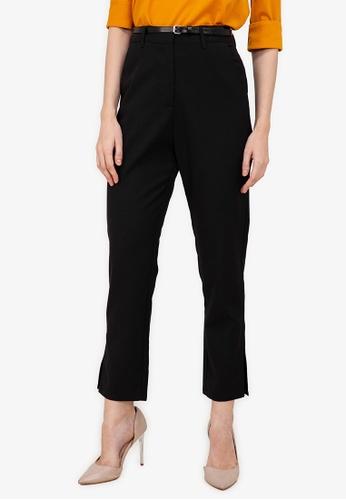 ZALORA WORK black Side Split Pants 8A01BAA1086BA9GS_1