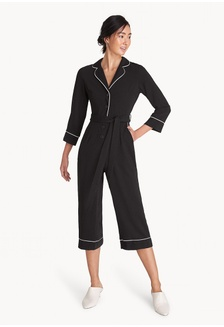 e795acb4ff4d Button Down Contrast Seam Jumpsuit - Black B1032AA335477EGS 1 Pomelo ...