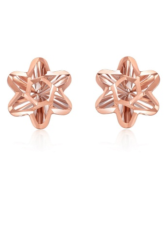 MaBelle silver 14K 585 Rose and White Gold Diamond Cut Snowflake Flower Stud Earrings 9DE51AC8723952GS_1