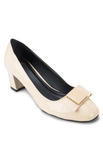 方頭蝴蝶結粗跟esprit 台北鞋, 女鞋, 厚底高跟鞋