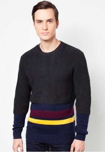 混色條紋針織衫, 服飾, 運動esprit台灣outlet衫