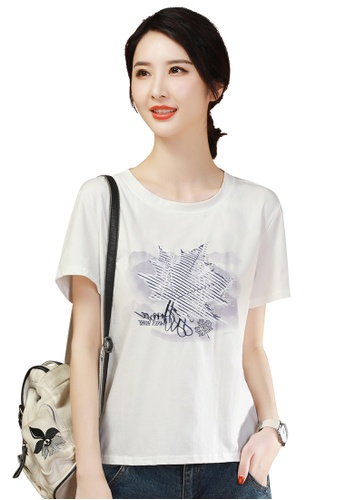 A-IN GIRLS white Fashion Embroidered Round Neck T-Shirt BA193AA2FE9395GS_1