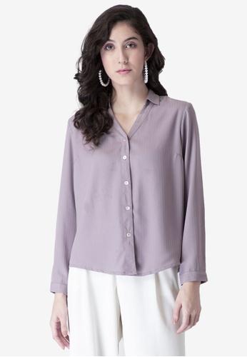 FabAlley purple Mauve Front Button Collared Shirt 81EDBAA545EAB0GS_1