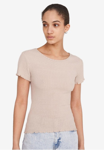Noisy May grey and beige BERRY S/S O-NECK TOP 4E2FEAA3609CEFGS_1
