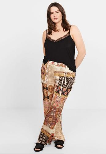 Violeta by MANGO 黑色 Plus Size Lace Top D2904AA8E0FA65GS_1