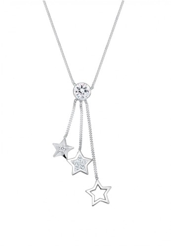 Elli Germany silver Perhiasan Wanita Perak Asli - Silver Kalung Y-Shape Star Crystal 0D85EAC284C4D1GS_1