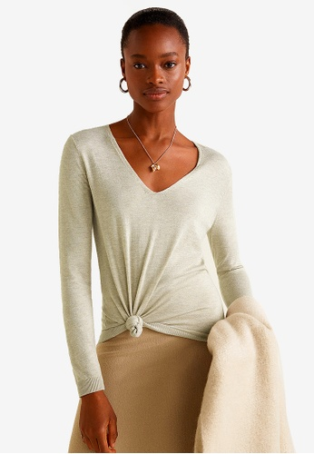 Mango grey V-Neck Cashmere Sweater C4349AA1F52C35GS_1