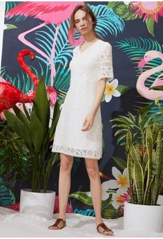 6c6783d9b12a Hopeshow V-neck Flare Lace Dress RM 119.00