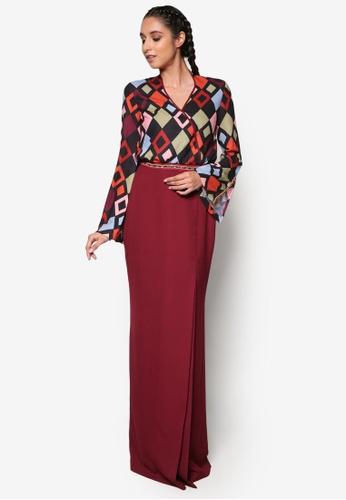 Jovian Mandagie for Zalora red and multi Zuzana Modern Dress JO948AA51WOUMY_1