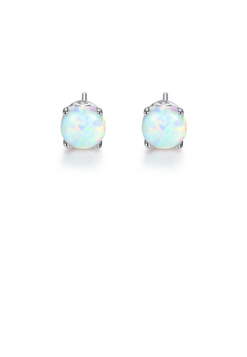 Glamorousky white 925 Sterling Silver Simple Fashion Geometric Round White Imitation Opal Stud Earrings 37D78ACB478455GS_1