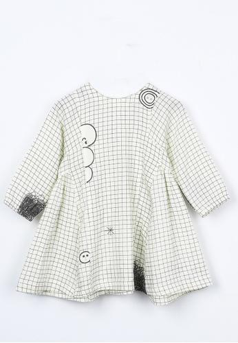 M.Latin white Checkered Prints Flare Dress 7C02BKA76DC128GS_1