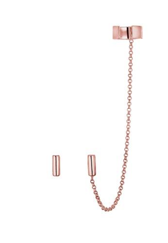 ELLI GERMANY gold Elli Germany Earrings Ear Cuff Asymmetrical Geo Minimal 925 Silver Rose Gold Plated A0BBAACE97880EGS_1