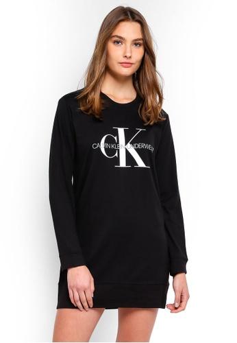 Calvin Klein black Monogram Long Sleeve Night Shirt - Calvin Klein Underwear A84F2AAC180D04GS_1