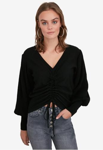 Trendyol black Gathered Front Balloon Sleeve Sweater 76F44AA4991F50GS_1